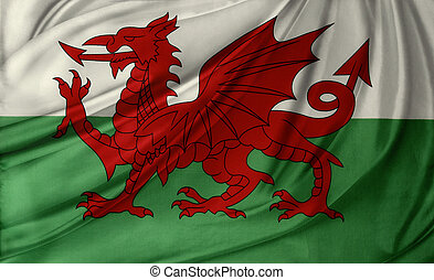 Flag - Closeup of silky Welsh flag