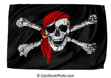 Flag - Closeup of silky Pirate flag