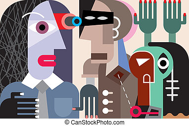 Three people - contemporary abstract art picture. Vector...