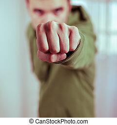 Dangerous fist - Dangerous man showing fist.