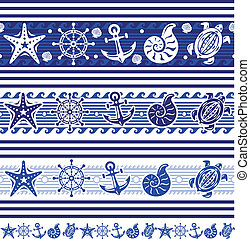 Banners with Nautical and sea symbols