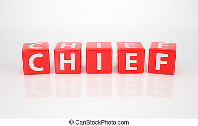 Chief out of red Letter Dices - The Word Chief out of red...