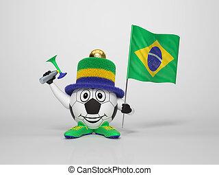 Brasil, personagem, futebol, ventilador, suportar