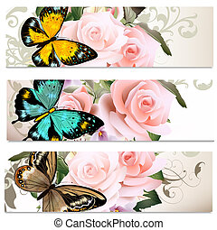Business cards set with roses for design - Set of floral...