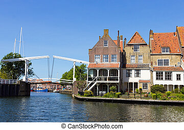 Enkhuizen - Holland - Houses and a draw-bridge in Enkhuizen,...