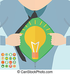 Super hero tearing open his shirt to reveal an idea bulb. This template includes 16 business icons