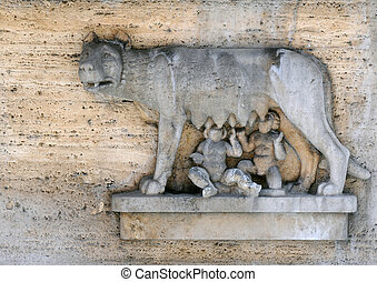 She-wolf Feeds Remus and Romulus - ROME, ITALY ? APRIL 28,...