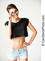 Funky beauty. Beautiful young short hair woman holding hand...