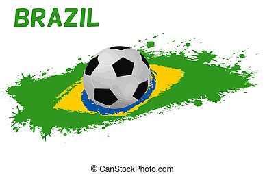Soccer ball on a grunge flag of Brazil