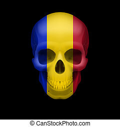 Romanian flag skull - Human skull with flag of Romania...