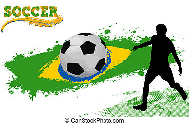 Soccer ball on a grunge flag of Brazil and player silhouette