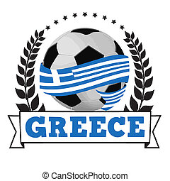 Soccer ball with greek flag - Soccer ball wrapped in ribbon...