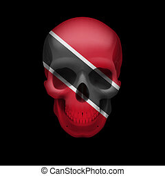 Trinidad and Tobago flag skull - Human skull with flag of...