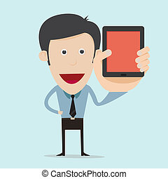 Vector illustration of cartoon show blank mobile device