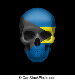 Bahamian flag skull - Human skull with flag of Bahamas....