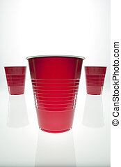 red plastic cup - Empty plastic cup with mirrored...