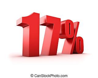 17 percent - 3D Rendering of a seventeen percent symbol
