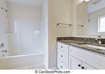 Emtpy bathroom with white refreshing tub