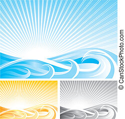 Abstract Wave Background - Vector File And Three Different...