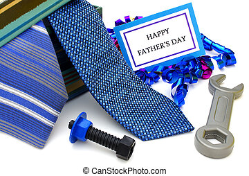 Fathers Day gifts - Happy Fathers Day tag with gift box,...