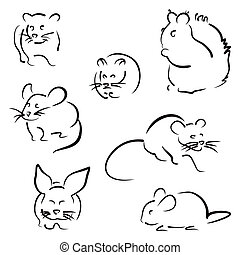 Set of rodents - Collection of different rodent black icons