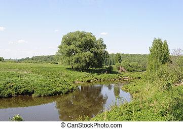 River landscape in spring time