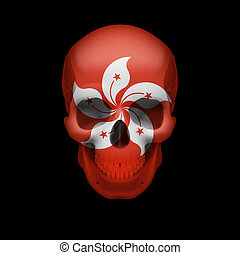 Hong Kong flag skull - Human skull with flag of Hong Kong...