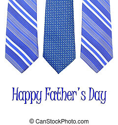 Happy Fathers Day text with group of blue ties over white