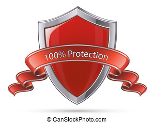 Shield symbol. 100 percent protection