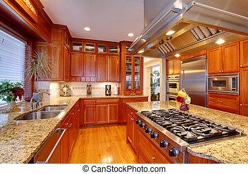 Luxury kitchen room - Luxuriant kitchen interior. View of...