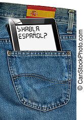 tablette, informatique, -, espagnol, partout