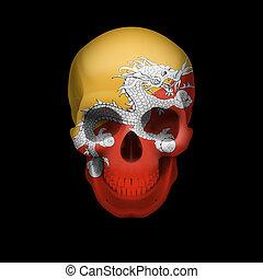 Bhutanese flag skull