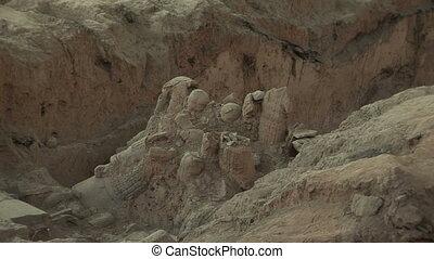 Terra Cotta Warriors Partially Excavated - Partially...