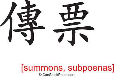 Chinese Sign for summons, subpoenas - Chinese calligraph as...