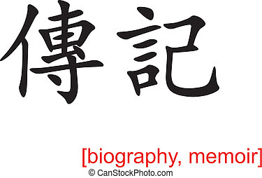 Chinese Sign for biography, memoir - Chinese calligraph as...