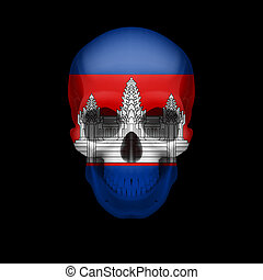 Cambodian flag skull - Human skull with flag of Cambodia...