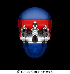 Cambodian, vlag, schedel