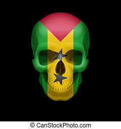 Sao Tome and Principe flag skull - Human skull with flag of...