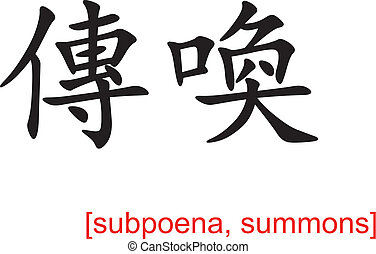 Chinese Sign for subpoena, summons - Chinese calligraph as...