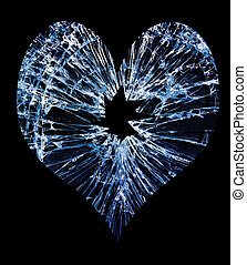 glass break heart - heart shaped shattered glass with a hole...