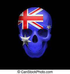 Australian flag skull - Human skull with flag of Australia...