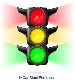 Traffic lights - Realistic traffic lights with all three...