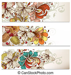 Business cards set with swirls for design - Set of floral...
