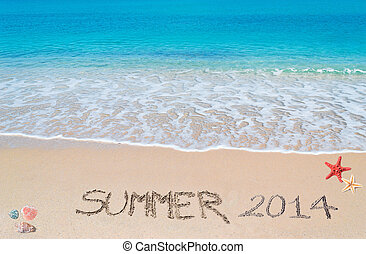 summer 2014 - Summer 2014 written on a tropical beach