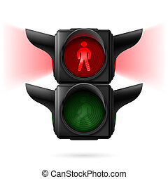 Pedestrian traffic lights - Realistic pedestrian traffic...
