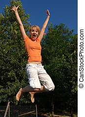 Girl Jumping on Trampoline - Young Girl Jumping, Jump
