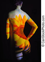 Sunflower Girl - Projection of Leafs Texture on Woman Body
