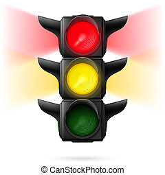 Traffic lights - Realistic traffic lights with red and...