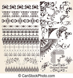 Collection of vector decorative - Vector set of calligraphic...