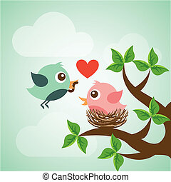Bird design over landscape background, vector illustration
